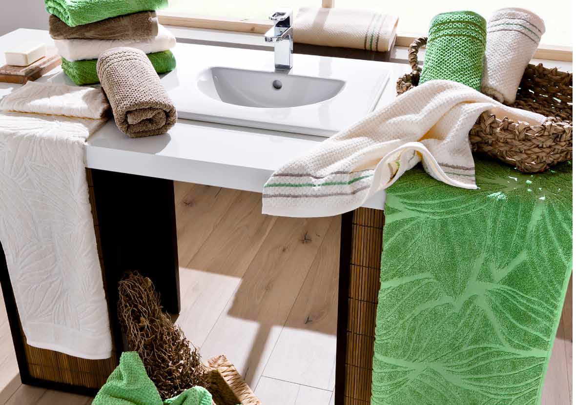 serviettes de bain marron beige vert Herba Egeria
