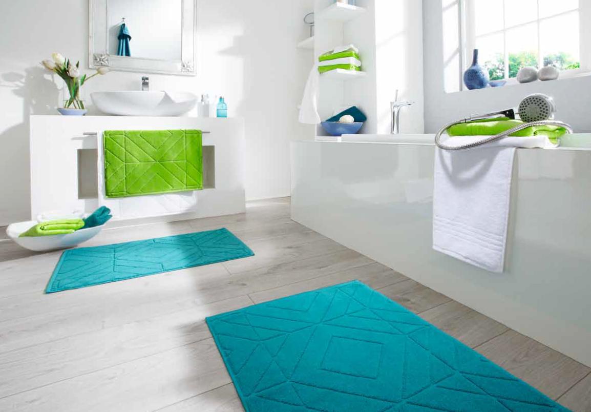tapis de bain bleu turquoise vert Malibu Egeria